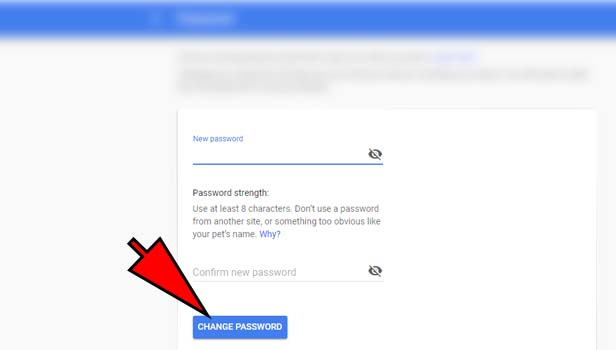 reset gmail password