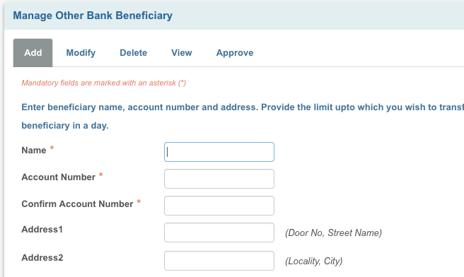 Add beneficiary in SBI