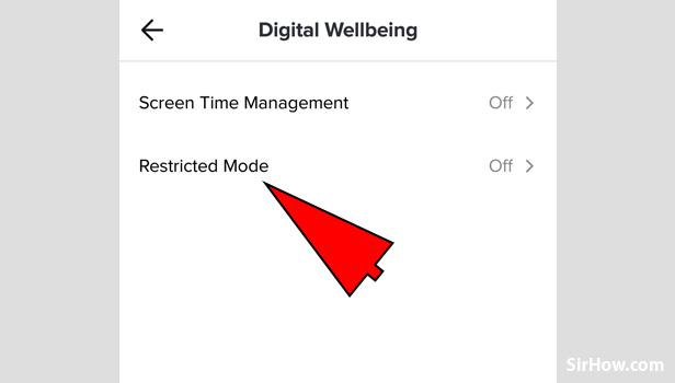 Enable restricted mode on tik tok