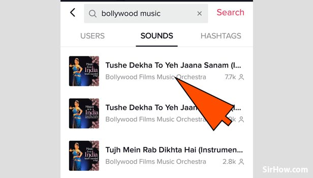 Search a song to add in tik tok video