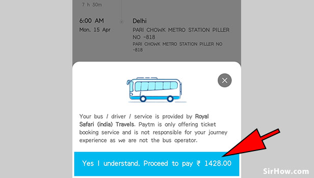 Book bus tickets using paytm app