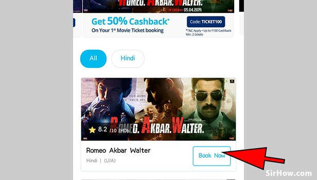 Book movie tickets using paytm app