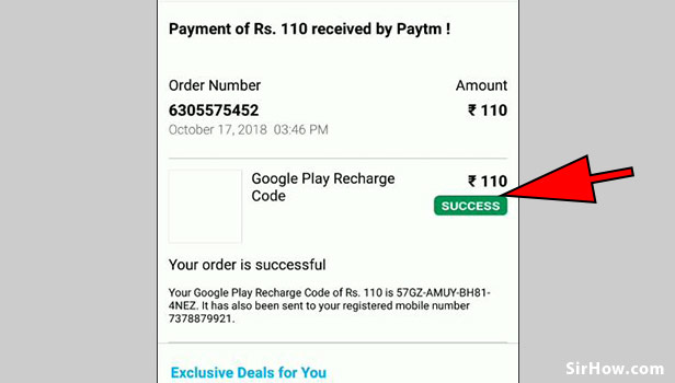 Recharge google play using paytm