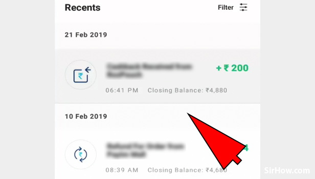 Check Paytm transaction history