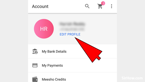 Steps to update email id in Meesho