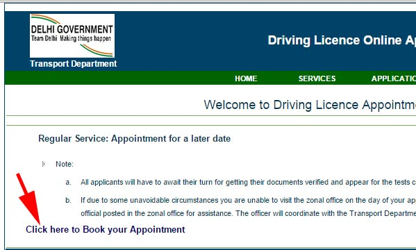 book appointment for driving licence - Delhi