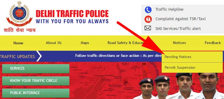 Delhi traffic police number