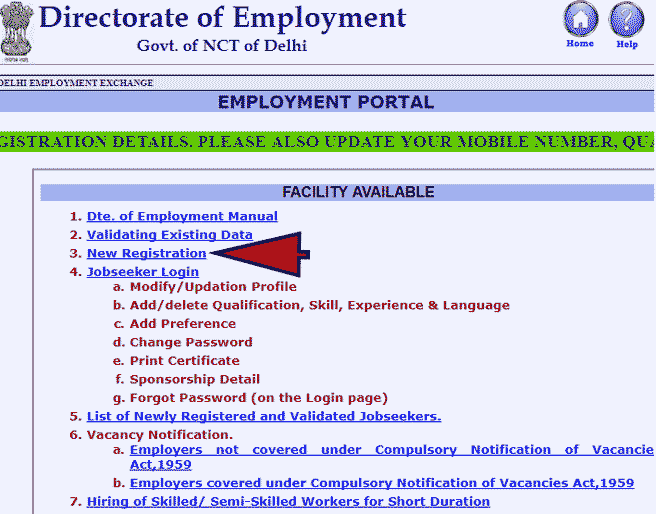 employment exchange delhi